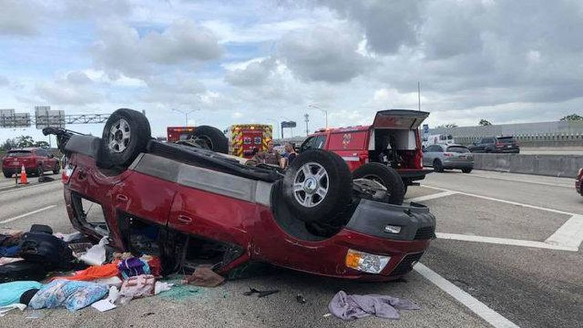 Cuatro personas heridas después de un accidente en la Interestatal 95 en Fort Lauderdale