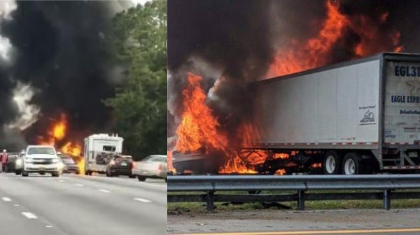 Un accidente en la I-75 causa un derrame de combustible que prende en llamas dejando 6 muertos en el centro de Florida