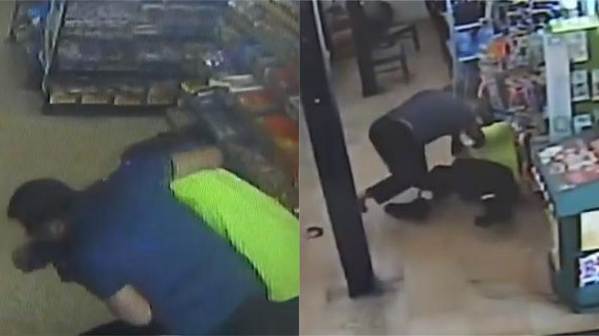 Video de vigilancia graba empleado de gasolinera luchando contra un posible ladrón