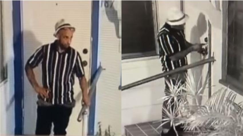 En cámara un hombre intenta forzar la puerta en una vivienda de la Pequeña Habana