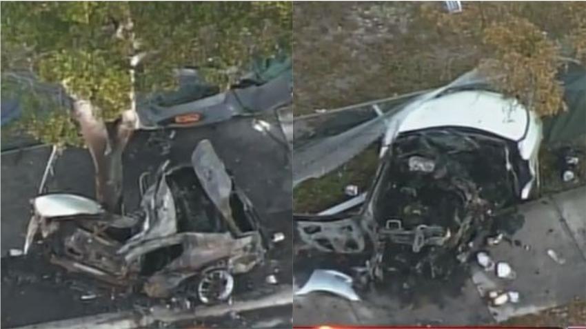 Un auto se parte en dos y prende en llamas tras chocar contra un árbol; conductor sobrevive