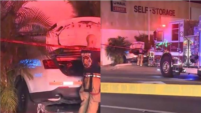 Oficial de la policía de Miami hospitalizada después de estrellarse contra un edificio