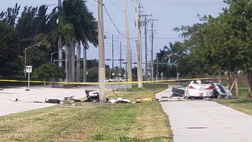 Conductor resulta gravemente herido tras estrellarse contra un poste de electricidad en Miami