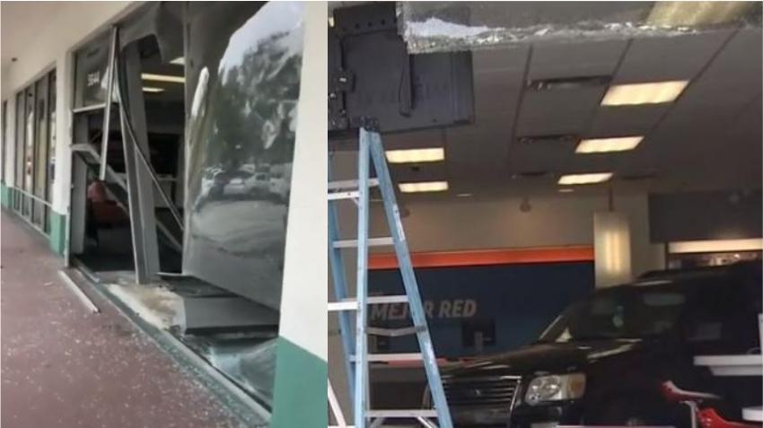 Una anciana pierde control de su auto choca otro vehículo y se estrella contra una tienda AT&T en Miami