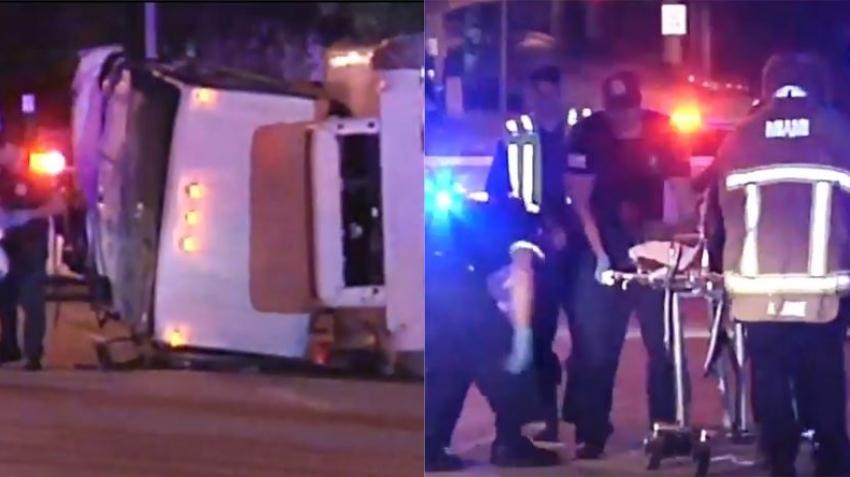 Camión se estrella contra un auto y se vuelca en accidente de exceso de velocidad en Miami