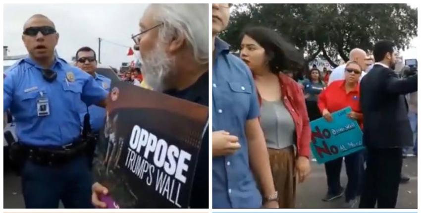 Policía interviene y arresta a dos manifestantes en medio de protestas por visita de Trump a la ciudad fronteriza de McAllen