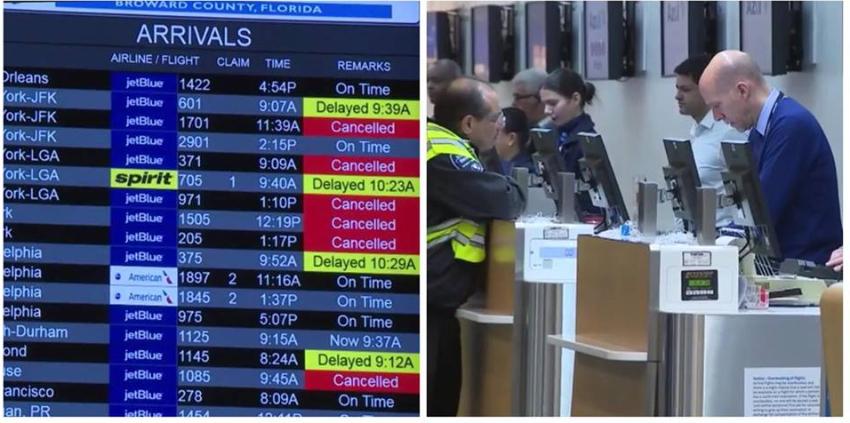Retrasos y cancelaciones de vuelos en aeropuertos del sur de Florida, por tormenta invernal