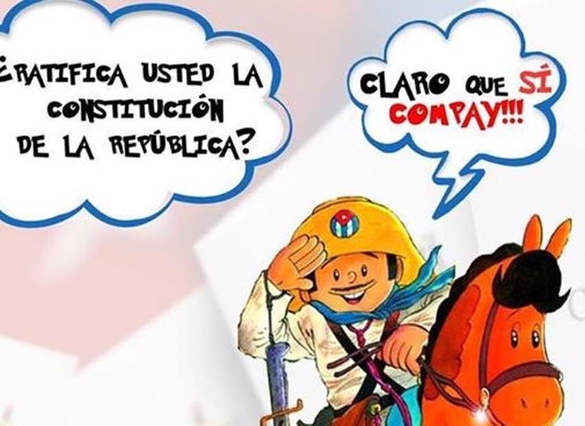 """Utilizan imagen de Elpidio Valdés para pedir el """"Sí"""" para la nueva constitución en Cuba"""