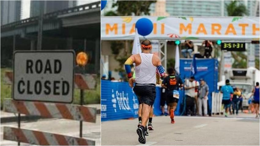 Cierre de calles en Miami por el Maratón