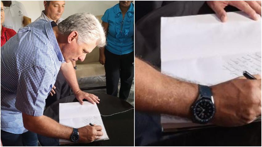 Miguel Díaz Canel se luce con un reloj inteligente valorado en $1700 dólares