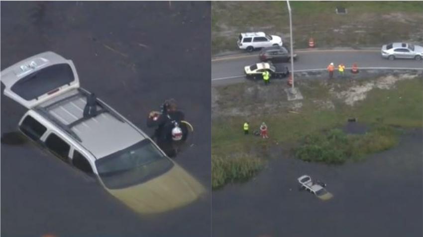 Un auto se sale del Turnpike y se hunde en un estanque de agua; una mujer y una bebé son hospitalizadas