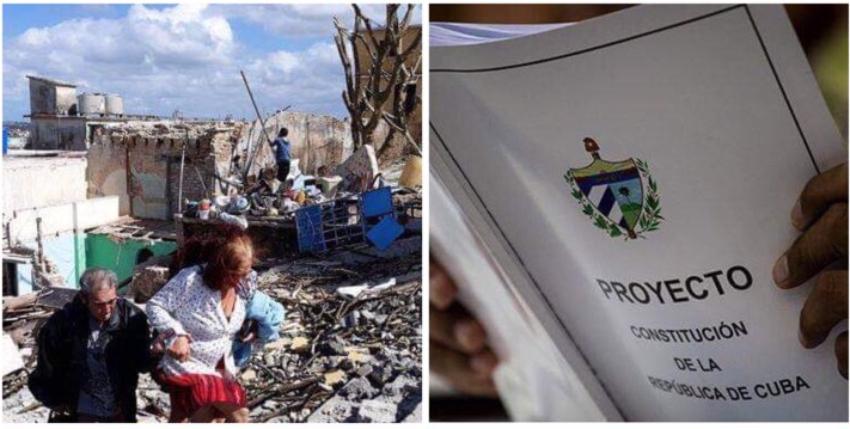 Denuncian desde Cuba que el régimen entrega ayuda a los damnificados y les pide votar Sí por la Constitución
