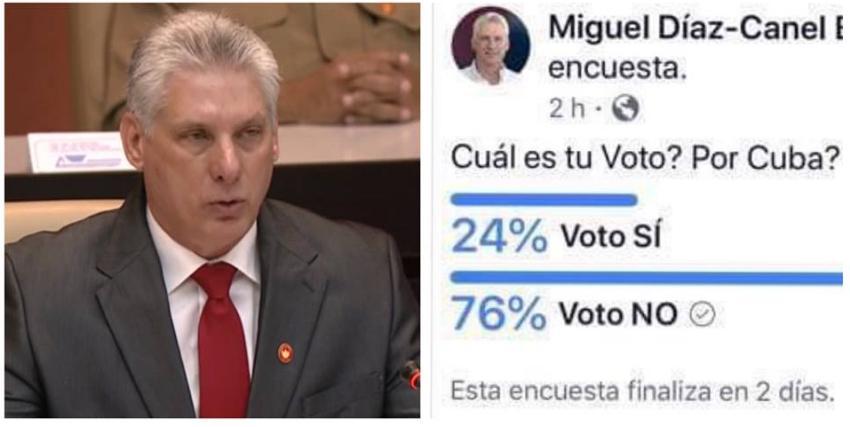 En sondeo sobre la Constitución en un perfil falso de Díaz-Canel el NO supera de manera abrumadora al Sí