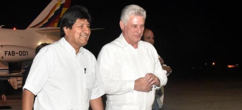 Evo Morales hizo escala en La Habana, para reunirse con Díaz-Canel, antes de seguir rumbo a EEUU