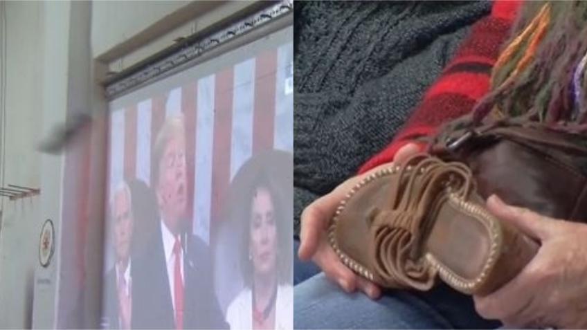 Organizaron evento donde le tiraban zapatos a Trump durante el discurso