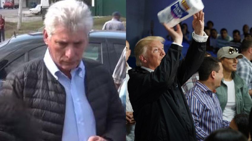 """Díaz-Canel se compara a Trump y dice que en Cuba no se tiraron """"rollos de papel sanitario"""" refiriéndose al presidente estadounidense en Puerto Rico"""