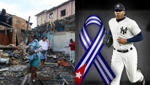 Pelotero cubano Aroldis Chapman ayuda damnificados por el tornado en La Habana
