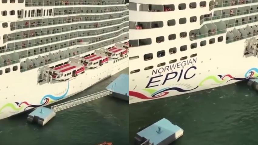 Crucero de Norwegian choca contra un muelle en Puerto Rico