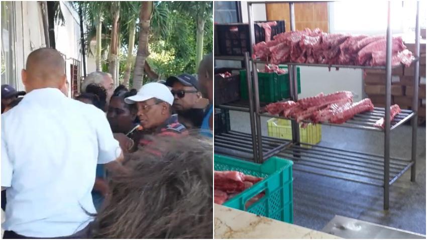 Colas y discusión para comprar huesos de cerdo en La Habana