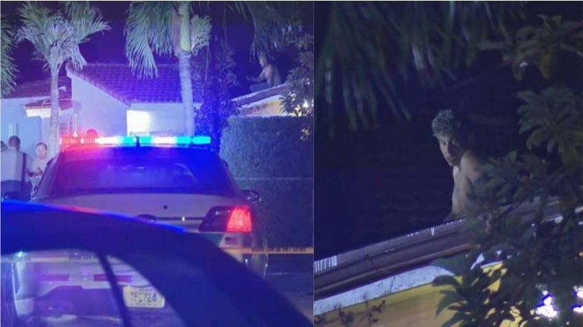 Hombre se sube al techo de una casa en Miami y cae rompiendo el toldo mientras huía de la policía
