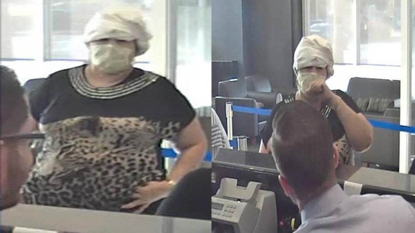 Ladrón en máscara de hospital, camisa de leopardo roba sucursal de TD Bank en Hialeah