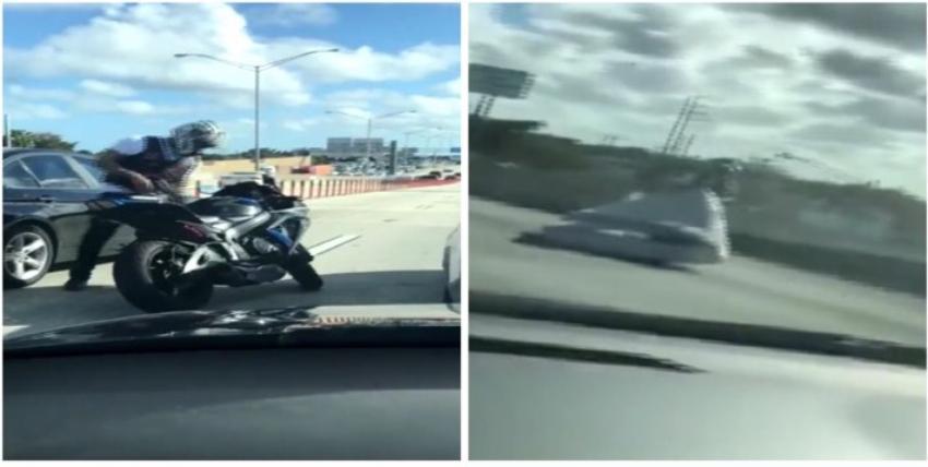 Motociclista aparta un colchón en medio de la I-95 de Miami para evitar un accidente