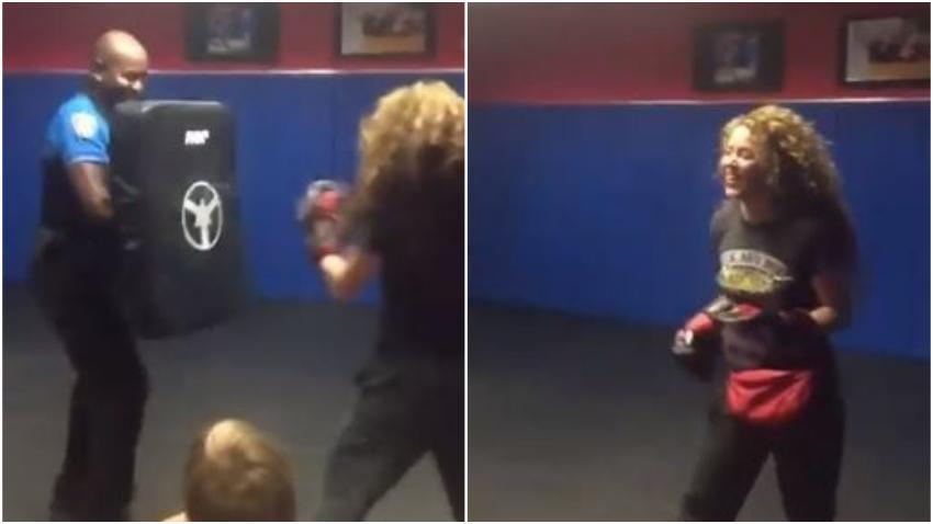 Shakira muestra a los oficiales de policía de Miami Beach sus habilidades de boxeo
