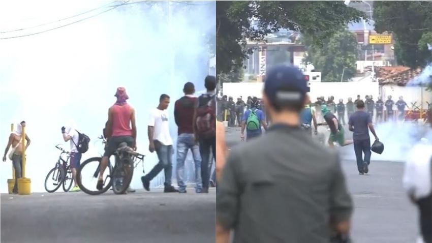 Enfrentamientos en la frontera Venezuela-Colombia; soldados de Maduro atacan con gas lacrimógeno