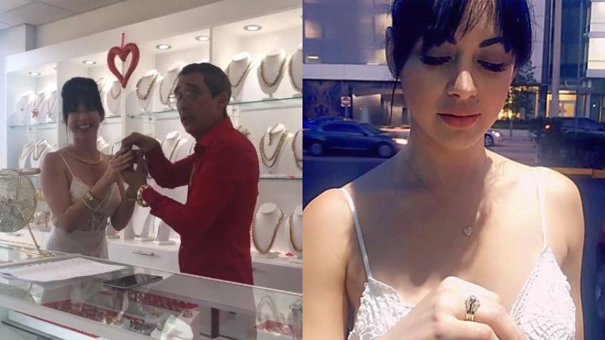Actor cubano Yubran Luna le regala anillo de compromiso a la actriz Imaray Ulloa en el día del amor