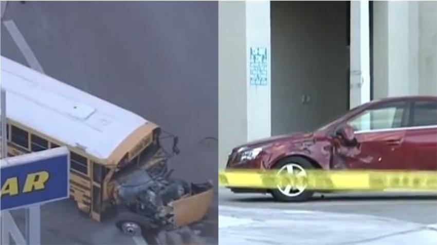 Autobús escolar en Hialeah choca contra un auto y un edificio