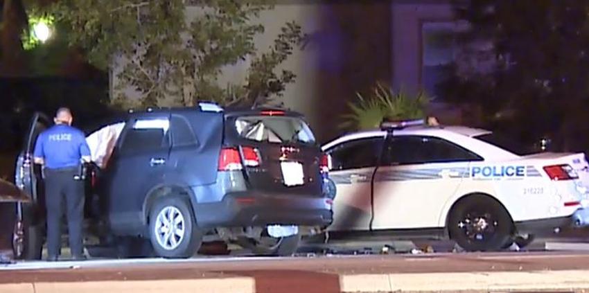 Un conductor choca contra patrulla de la policía en Coral Gables y aparentemente intenta darse a la fuga