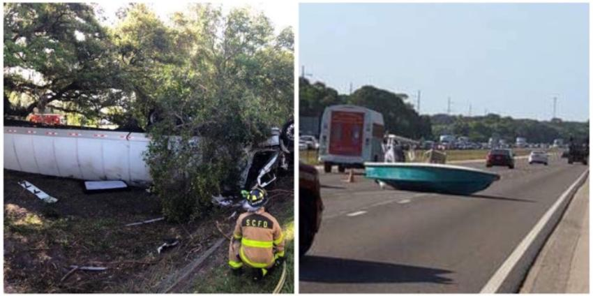 Accidente en la I-75 deja un camión volcado y un bote bloqueando el tráfico en los carriles