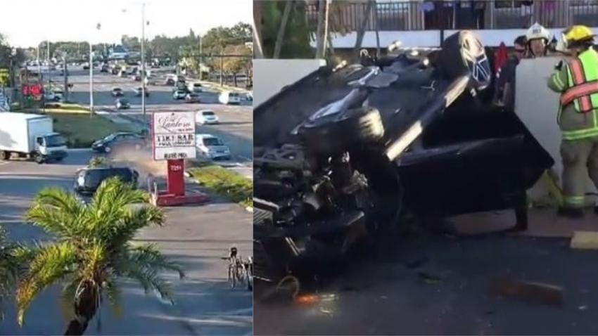 Adolescente de Florida en estado crítico luego que una minivan chocara su auto y lo enviara dando vueltas contra una pared