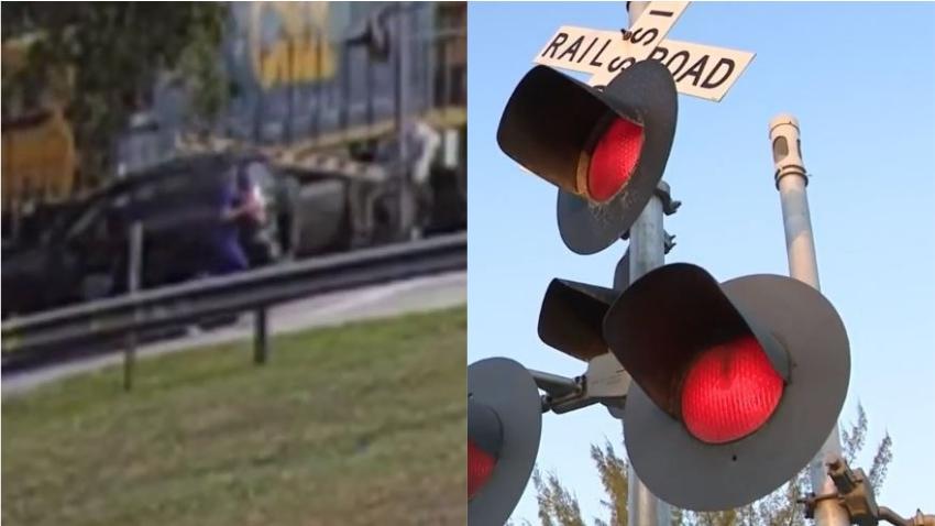 En cámara un automóvil queda atrapado en la línea del tren y la conductora tiene que salir corriendo