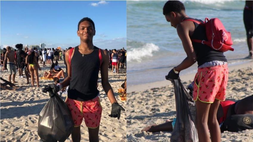 Foto de estudiante en Spring Break en Miami Beach recogiendo basura se vuelve viral