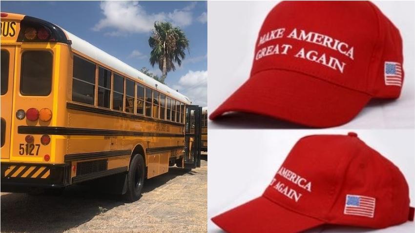Investigan a ayudante de autobús escolar que le arrancó de la cabeza a un estudiante una gorra de Trump- MAGA