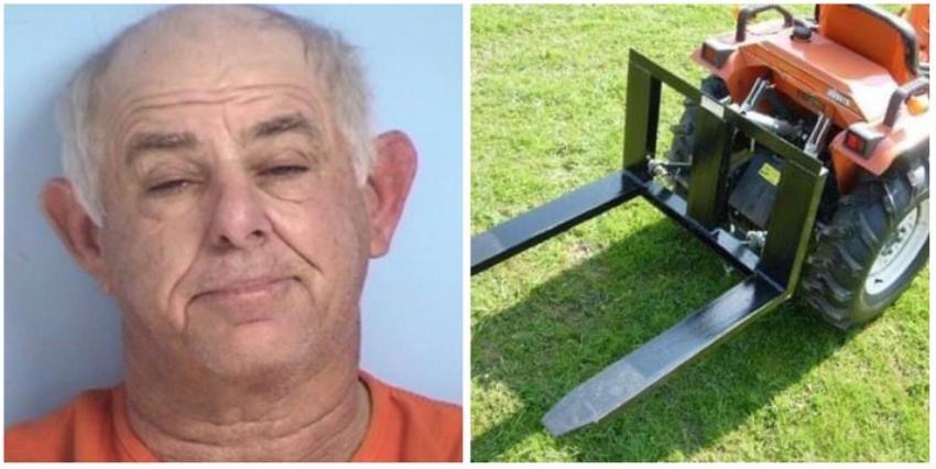 Arrestan a floridano por usar su tractor para golpear el carro de su mujer
