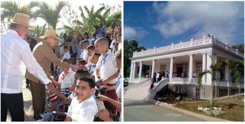 Díaz-Canel y Raúl Castro inauguran una escuela especial en una antigua residencia de la familia Bacardí