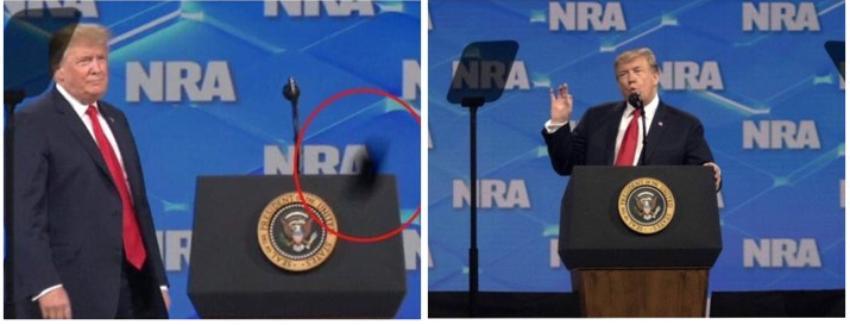 Lanzan un móvil a Donald Trump, segundos antes de iniciar su discurso en la convención de la NRA