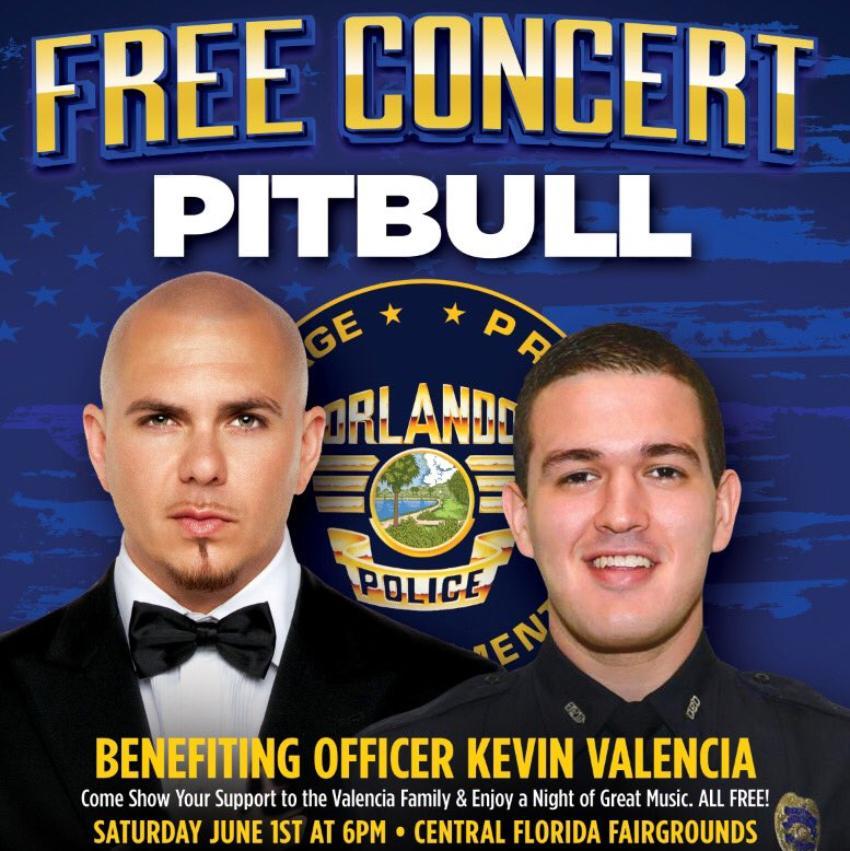 Pitbull ofrecerá concierto benéfico para ayudar al tratamiento de oficial de la policía que se enfrentó a un criminal en Florida