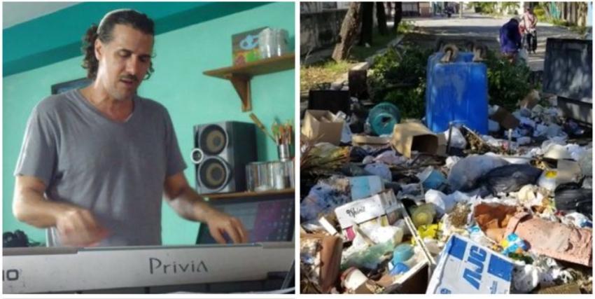 Artista cubano harto del serio problema de la basura en la capital, muestra un vídeo de la esquina de su casa