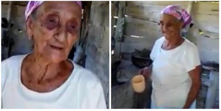 """Feliz de la vida una abuelita cubana que cumplió 105 años: """"chapeando y picando leña"""""""