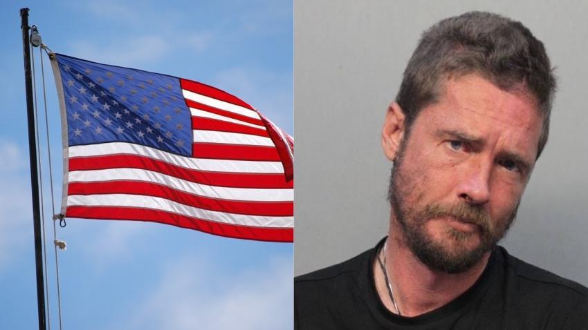 Hombre intenta darle candela a una bandera de Estados Unidos en una iglesia en Miami Beach