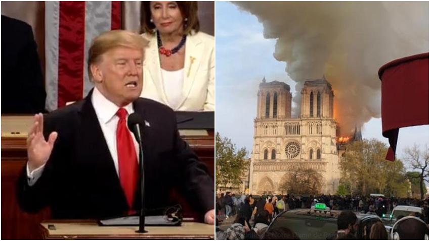 Presidente Trump recomienda rociar agua desde aviones sobre la Catedral de Notre Dame para apagar el fuego
