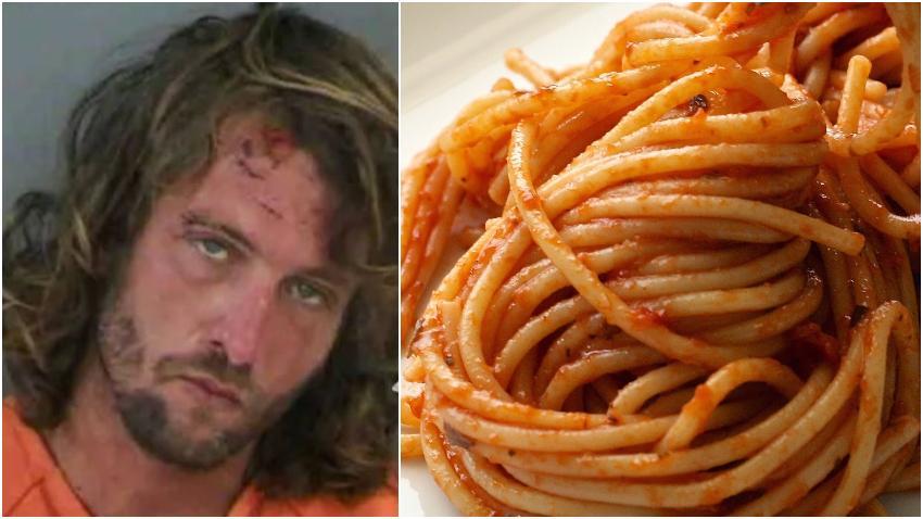 Hombre de Florida arrestado después de ponerse violento comer espaguetis con sus propias manos