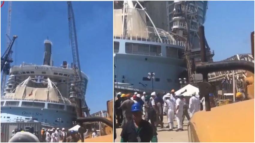 Grúa cae sobre el crucero Oasis of the Seas con sede en Florida