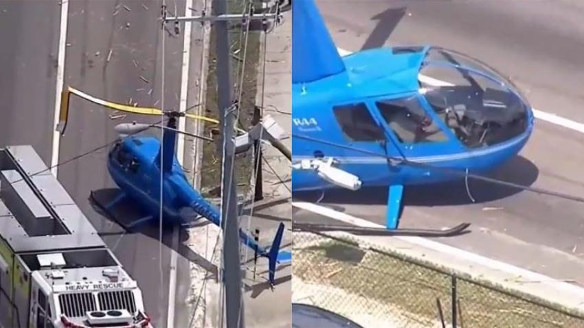 Helicóptero en Florida se estrella contra una camioneta y deja un muerto