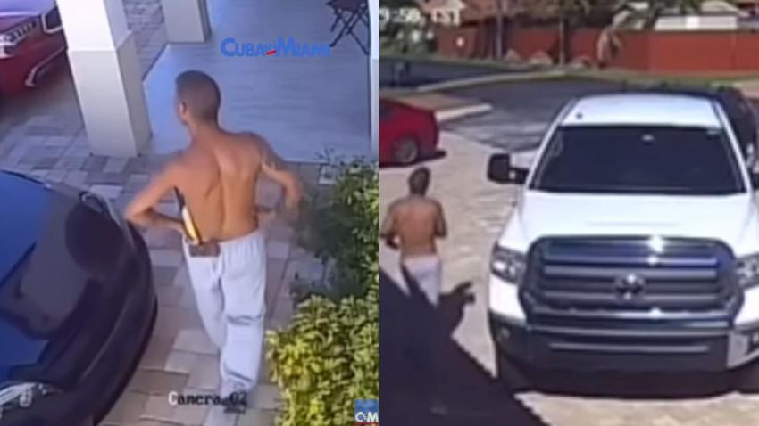 Mujer aterrorizada en Miami cuando un hombre con un hacha se pasea por el patio de su casa
