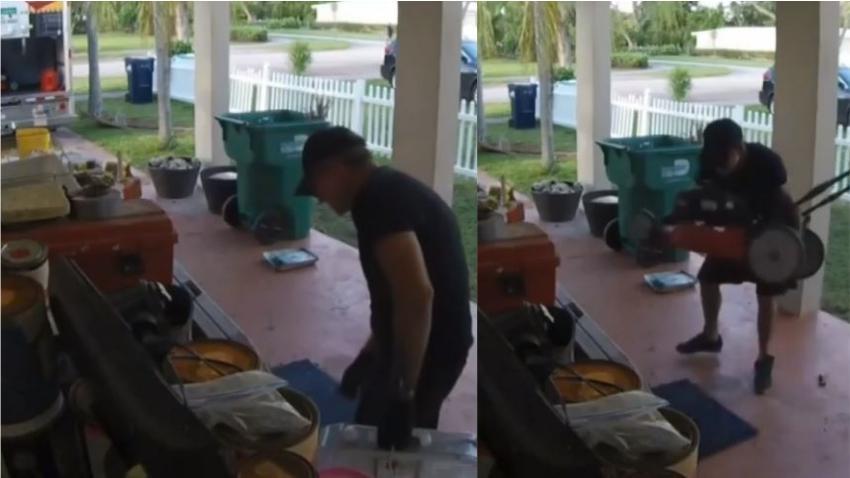 En cámara un atrevido ladrón estaciona camión en una casa de Miami y comienza a llenarlo con artículos que agarra del portal