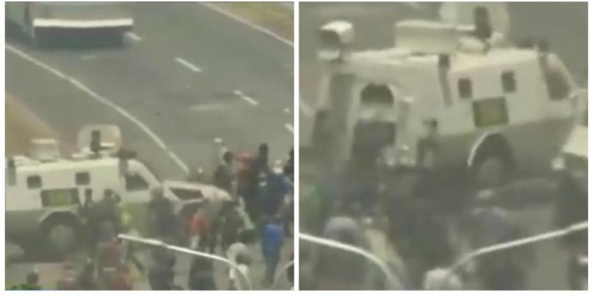 Fuertes imágenes: Tanque blindado de las fuerzas de Maduro atropella a manifestantes